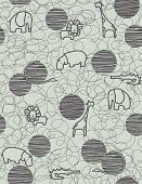 pic of alligator baby  - Vector seamless pattern showcasing cute little baby safari animals - JPG