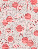 picture of alligator baby  - Vector seamless pattern showcasing cute little baby safari animals - JPG