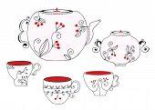 stock photo of por  - Tea set with cups and pot vector - JPG