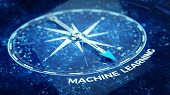 Machine learning concept - Compass needle pointing Machine learning word. 3d rendering poster
