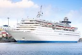 stock photo of cruise ship caribbean  - Cruise ship visiting Las Palmas in Spain - JPG