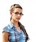 pic of girl next door  - Girl next door young friendly brunette with glasses in  shirt looking at camera isolated on white - JPG