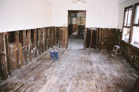stock photo of katrina  - Interior house repair gut house from Hurricane Katrina damage - JPG