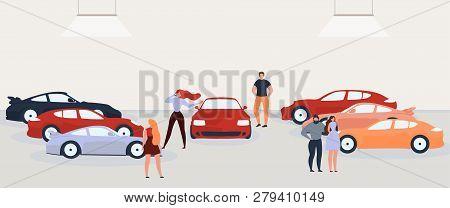 Car Dealer Showroom Flat Vector