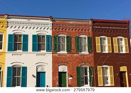 Brightly Painted Brick Houses On