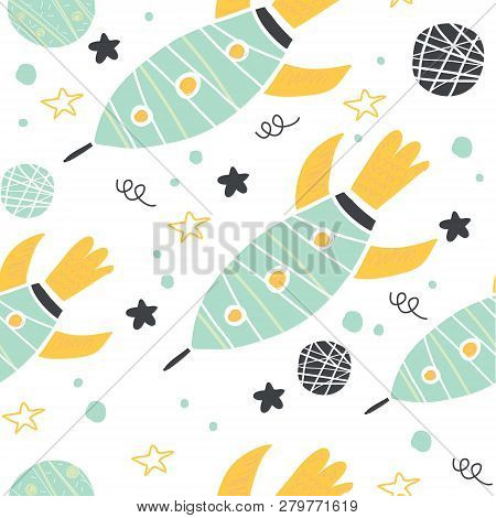 Childish Seamless Pattern With Hand
