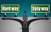 Choosing Between Hard Way And Easy Way, 3d Rendering poster