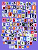 Alphabet Collage Abc Vector Alphabetical Font Letter Cutout Of Newspaper Magazine And Colorful Alpha poster