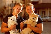 Dogs Make Them Happy. Spitz Dogs Love The Company Of Their Family. Happy Family On Walk. Twins Men H poster