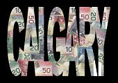 Постер, плакат: Калгари текст с канадских долларов