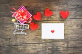 Valentines Day Shopping And Red Heart  Gift Box On Shopping Cart And Envelope Love Mail Valentine Le poster