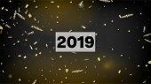2019 Gold Explosion, Stars, Streamers, Tinsel Burst. Horizontal Lights Stardust Background. Cool Pla poster
