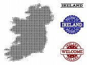 Welcome Composition Of Halftone Map Of Ireland Island And Rubber Watermarks. Halftone Map Of Ireland poster