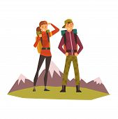 People Travelling, Couple Hiking, Mountain Landscape, Backpacking Trip Or Expedition Vector Illustra poster