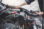 Services Car Engine Machine Concept, Automobile Mechanic Repairman Hands Repairing A Car Engine Auto poster
