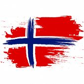 Flag Of Norway. Brush Painted Flag Of Norway. Hand Drawn Style Illustration With A Grunge Effect And poster