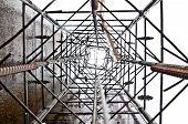 Column Base Building Before Pouring Concrete. Brand New Armature. Laid Reinforcement. Rebar Preparat poster