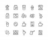 Simple Set Of Coffee Related Vector Line Icons. Contains Such Icons As Cezve, Coffee Maker Machine,  poster