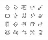 Simple Set Of Cooking Related Vector Line Icons. Contains Such Icons As Kitchen Utensils, Boiling An poster