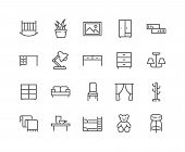 Simple Set Of Furniture Related Vector Line Icons. Contains Such Icons As Children S Bed, Sofa, Hang poster