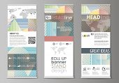 Roll Up Banner Stands, Abstract Style Templates, Modern Business Concept, Corporate Vertical Vector  poster
