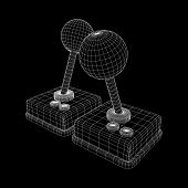 Retro Video Game Controller Gamepad Joystick. Wireframe Low Poly Mesh Vector Illustration poster
