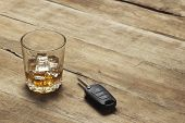 Glass With Whiskey And Ice And Car Keys On A Wooden Background. Drunk Driving Concept, The Risk Of D poster