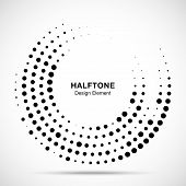 Halftone Circle Dotted Frame Circularly Distributed. Abstract Dots Logo Emblem Design Element. Round poster