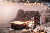 Home Still Life In The Interior With Beautiful Candles, On The Background Of A Cozy Home Decor poster
