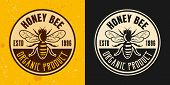 Honey Bee Set Of Two Colored Styles Vector Emblem, Badge, Label Or Logo On Yellow And Dark Backgroun poster