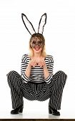 Sexy Easter Bunny Girl. Sexy Girl In Rabbit Mask. Sexy Fashion Girl In Black Mask. Woman With Bunny  poster