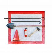 Wall-mounted Fire Shield With Fire-fighting Tools. Shovel, Hook , Axe, Cone Bucket, Fire Extinguishe poster
