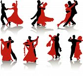 stock photo of ballroom dancing  - Silhouettes of the pairs dancing ballroom dances - JPG