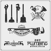 Plumbing And Home Renovation Services Emblems With Working Tools. Logos Template And Design Elements poster
