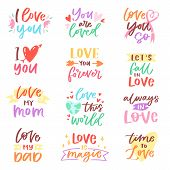 Love Lettring Vector Lovely Calligraphy Lovable Friendship Sign To Mom Dad Friend Iloveyou On Valent poster