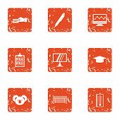 Team Spirit Icons Set. Grunge Set Of 9 Team Spirit Icons For Web Isolated On White Background poster