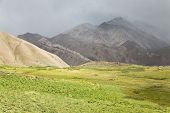 foto of aconcagua  - Aconcagua valley covered by clouds argentinian Andes - JPG