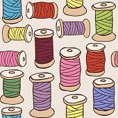 Illustration Of Colored Threads Seamless Pattern