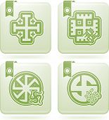 stock photo of swastika  - Religion is the adherence to codified beliefs and rituals pictured here from left to right - JPG