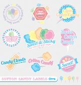 stock photo of candy cotton  - Collection of vintage style cotton candy labels and icons - JPG