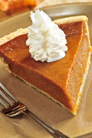 stock photo of pumpkin pie  - Slice of pumpkin pie with fresh whipped cream  - JPG