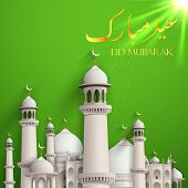 picture of eid ka chand mubarak  - illustration of Eid Mubarak background with mosque - JPG
