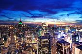 picture of empire state building  - New York City skyline aerial view at dusk with colorful cloud - JPG