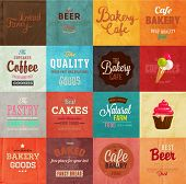 image of cupcakes  - Set of retro bakery label cards for vintage design - JPG
