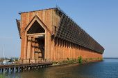 stock photo of iron ore  - old iron ore dock in Marquette harbor - JPG