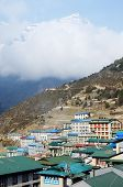 stock photo of sherpa  - Namche Bazaar village view  - JPG