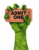 stock photo of zombie  - Monster movies with a zombie hand holding a cinema or theater ticket stub as a creepy halloween or scary entertainment symbol with textured green skin and stitches isolated on a white background - JPG