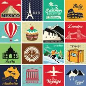 foto of world-famous  - Set of vintage retro vacation and travel label cards and symbols - JPG