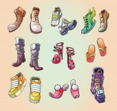 picture of ski boots  - The set of the original strange and casual vector footwear - JPG