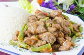 stock photo of clos  - Clos up on a big plate of mexican meat stew with green beans - JPG